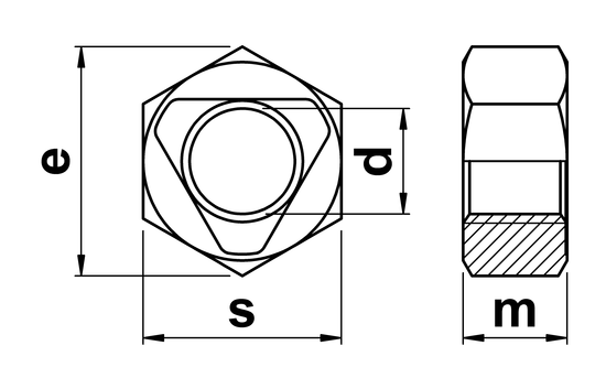 technical drawing of All Metal Lock Nut (Inloc) Sim. ISO 7042 / DIN 980
