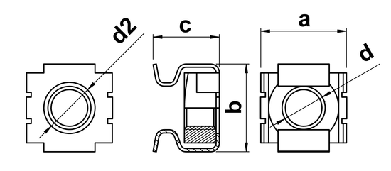 technical drawing of Cage Nuts - Metric Thread