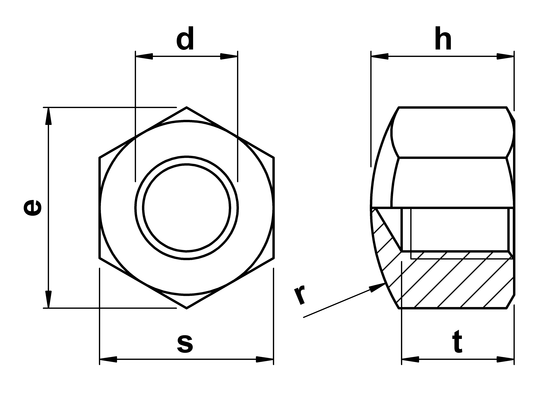 technical drawing of Cap Nuts DIN 917