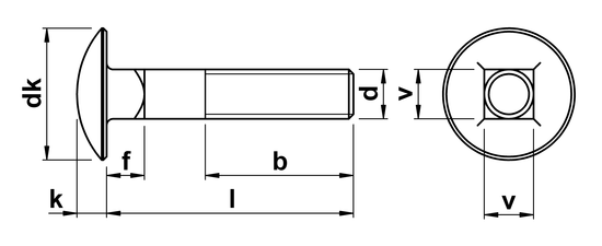 technical drawing of Carriage Bolts DIN 603 with partial thread