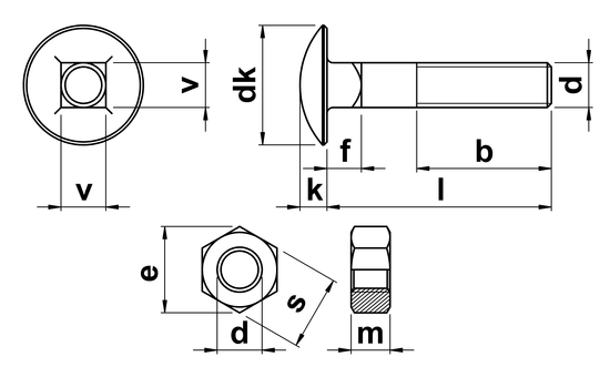 technical drawing of Carriage Bolts and Nuts DIN 603 (Bolt) DIN 934 (Nut)
