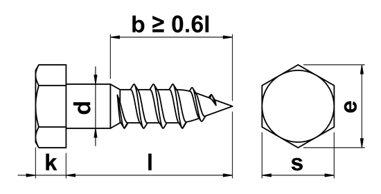 technical drawing of Coach Screws DIN 571