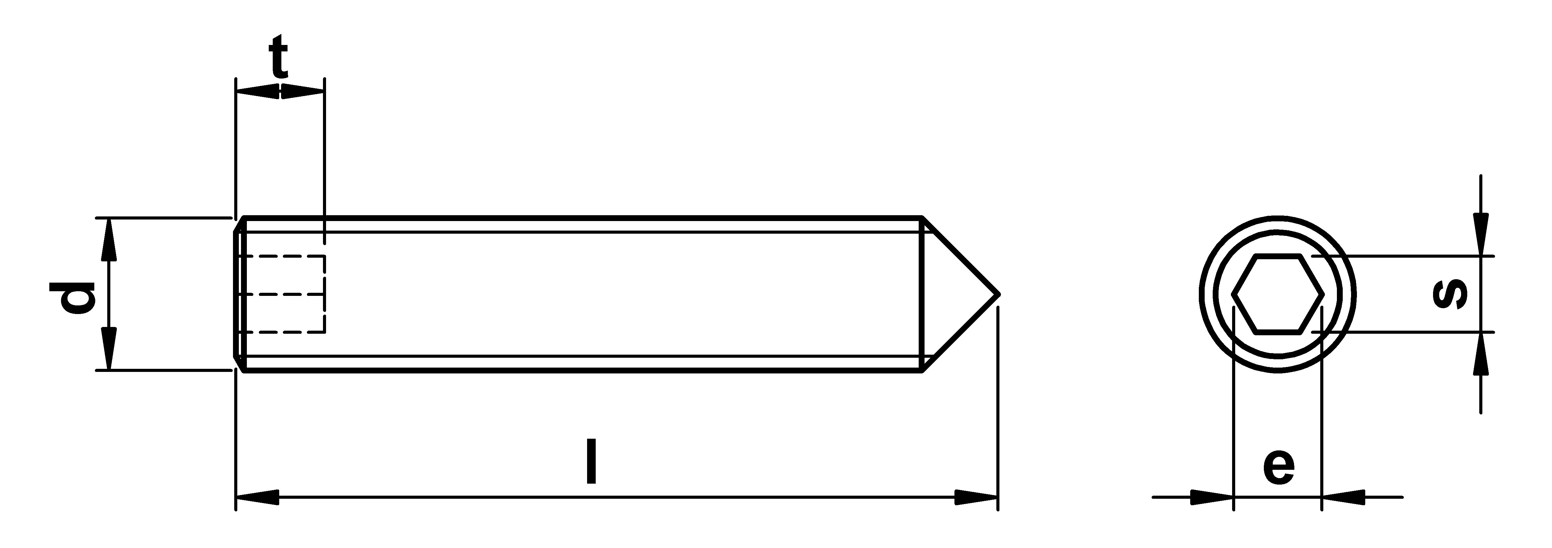 technical drawing of Cone Point Grub Screws ISO 4027 (DIN 914)