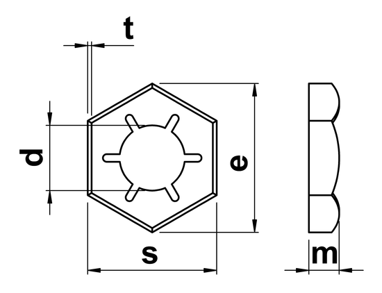 technical drawing of Counter Nuts DIN 7967