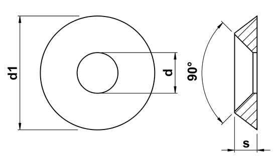 technical drawing of Countersunk Washers