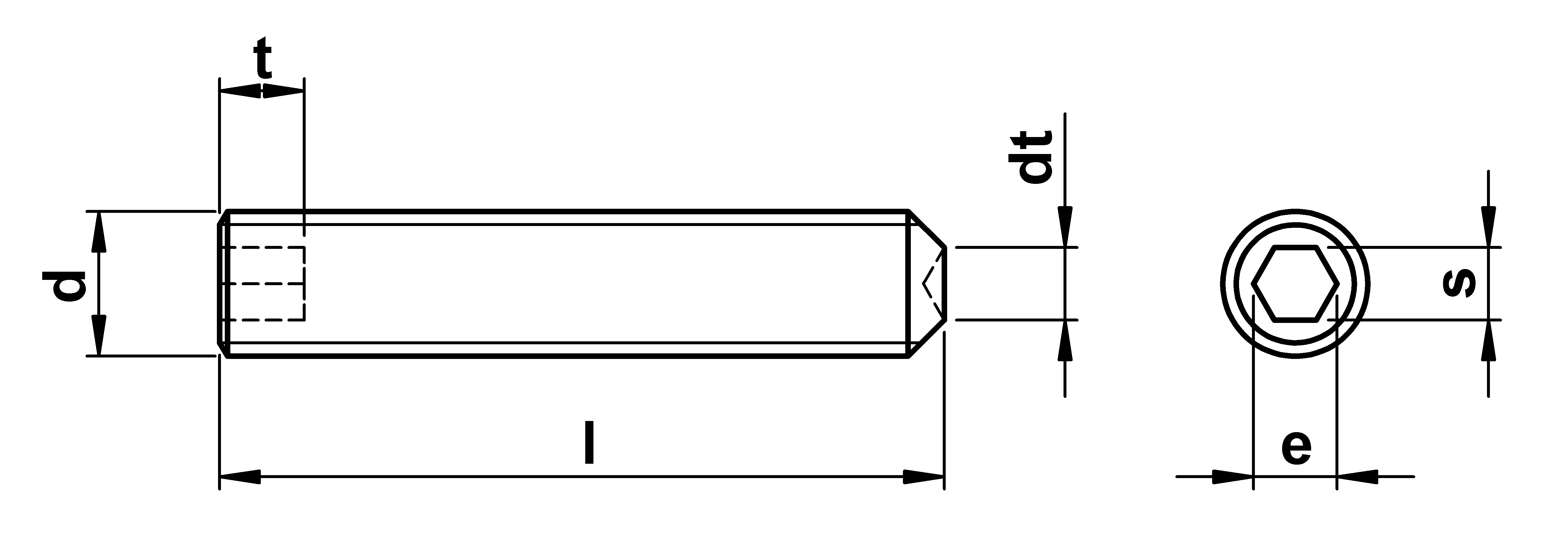 technical drawing of Cup Point Grub Screws ISO 4029 (DIN 916)
