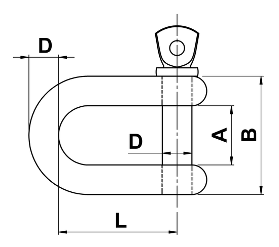 technical drawing of 'D' Shackle