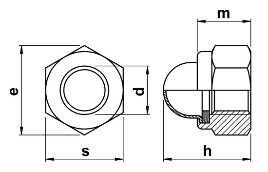 technical drawing of Dome Nyloc Nuts DIN 986