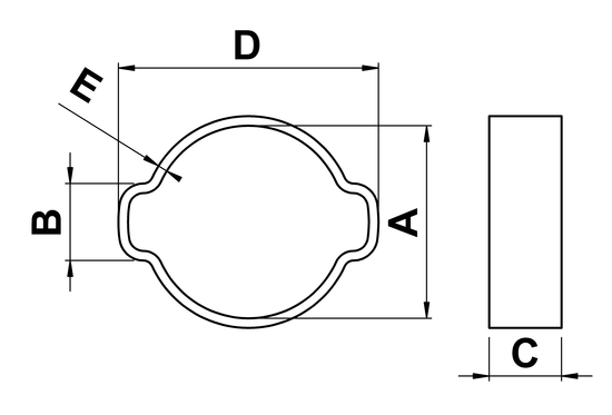 technical drawing of Double Ear Hose Clamps in A2 Stainless Steel
