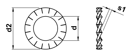 technical drawing of External Serrated Lock Washer