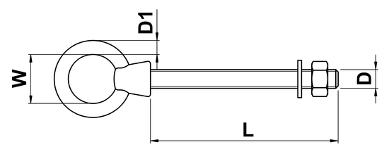 technical drawing of Eye Bolts with Metric Thread, Nut & Washer