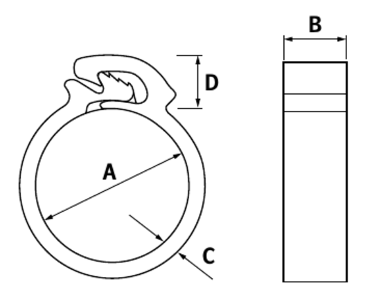 technical drawing of Ezyclik Hose Clips