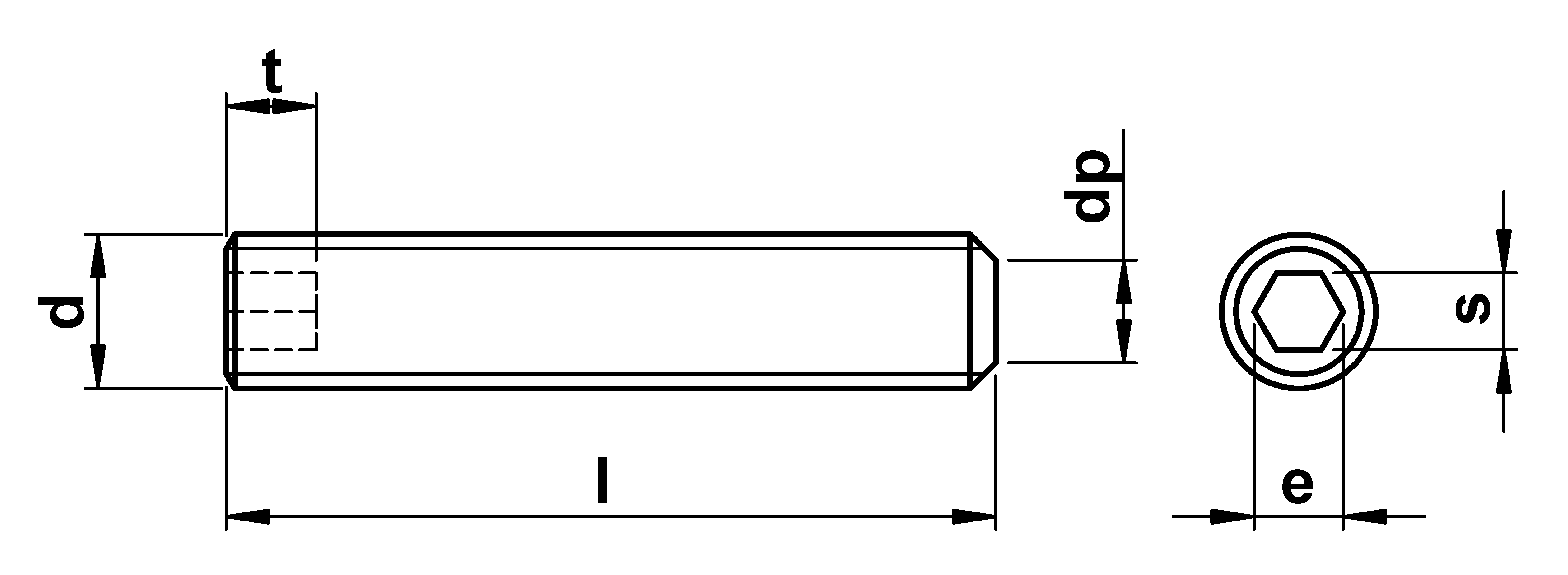 technical drawing of Flat Point Grub Screws ISO 4026 (DIN 913)