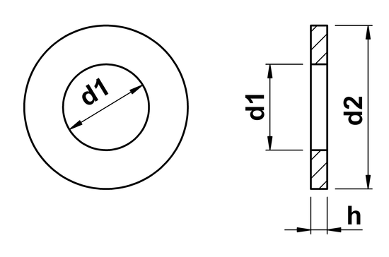 technical drawing of Form A Washers ISO 7089 non chamfer & 7090 chamfered (DIN 125A)
