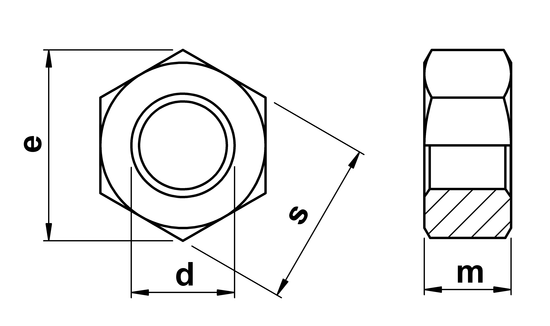 technical drawing of Full Hex Nuts With Left Hand Thread (DIN 934)