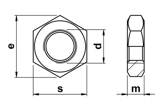 technical drawing of Half Nuts (Lock Nut) Coarse Pitch ISO 4035 (DIN 439 part 2)