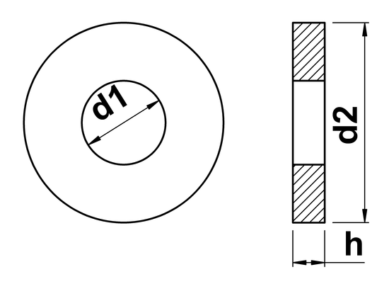 technical drawing of Heavy Pattern Flat Washers DIN 7349