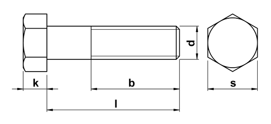 technical drawing of Hex Head Bolt ASME B18. 2.1