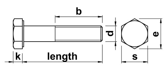 technical drawing of Hex Head Bolts DIN 931 (ISO 4014)