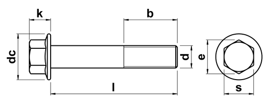 technical drawing of Hex Head Flange Bolts without Serrations DIN 6921