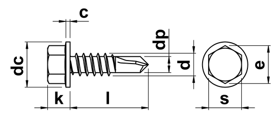 technical drawing of Hex Head Self Drilling Screws With Flange