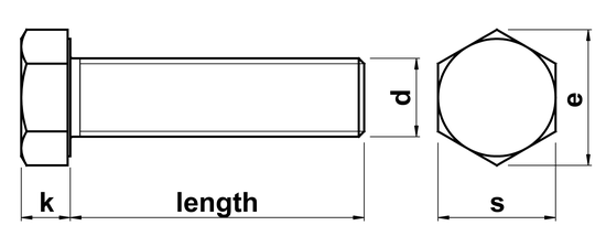 technical drawing of Hex Head Setscrews ISO 4017 (DIN 933)
