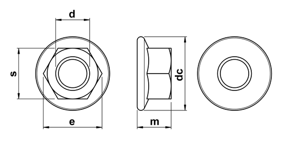 technical drawing of Hex Plain Flange Nuts
