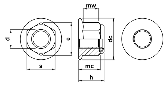 technical drawing of Hex Plain (Non-Serrated) Flange Nuts with Nylon Insert