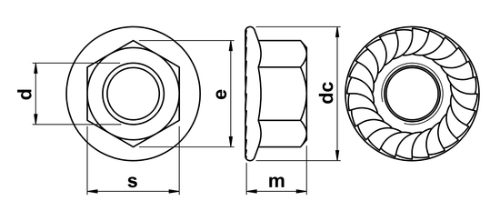 technical drawing of Hex Serrated Flange Nut EN 1661 (DIN 6923)