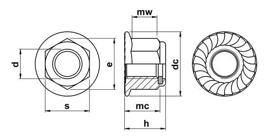 technical drawing of Hex Serrated Flange Nuts with Nylon Insert