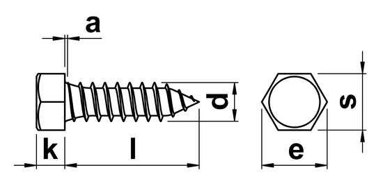 technical drawing of Hex Tapping Screws Type C (AB) ISO 1479 (DIN 7976)