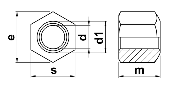 technical drawing of Hexagon Nut (Type B) with height 1.5 x thread diameter