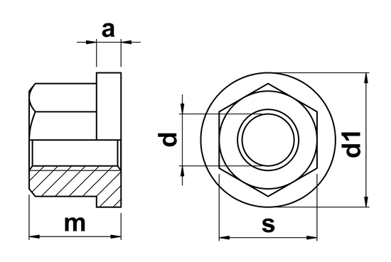 technical drawing of Hexagon Nut with Collar and height 1.5 x thread diameter