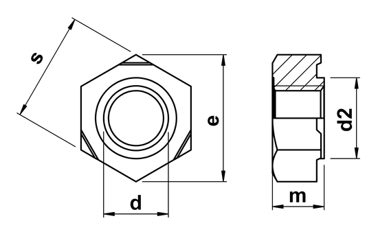 technical drawing of Hexagon Weld Nuts