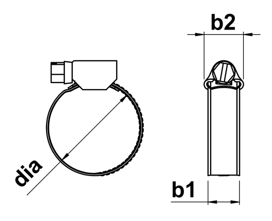technical drawing of Hose Clips DIN 3017