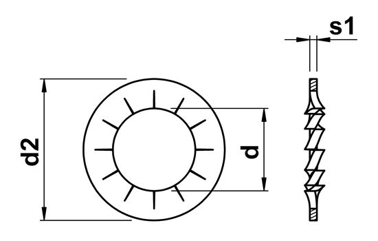 technical drawing of Internal Serrated Lock Washers DIN6798