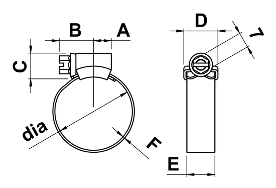 technical drawing of JCS HiGrip Hose Clips