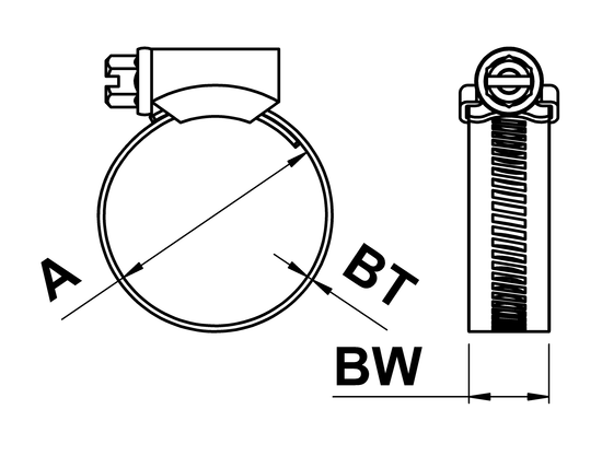 technical drawing of Jubilee 316 Original Hose Clips