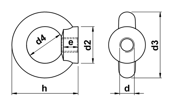 technical drawing of Lifting Eye Nuts similar to DIN 582