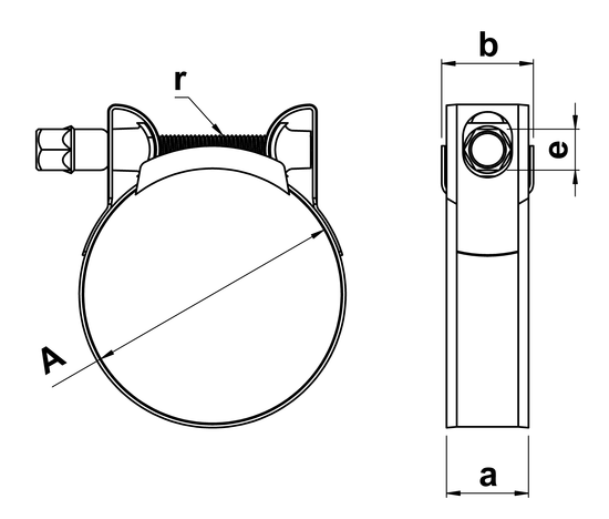 technical drawing of Mikalor Supra Hose Clamps