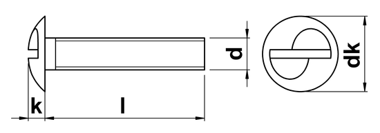 technical drawing of One Way Security Screws