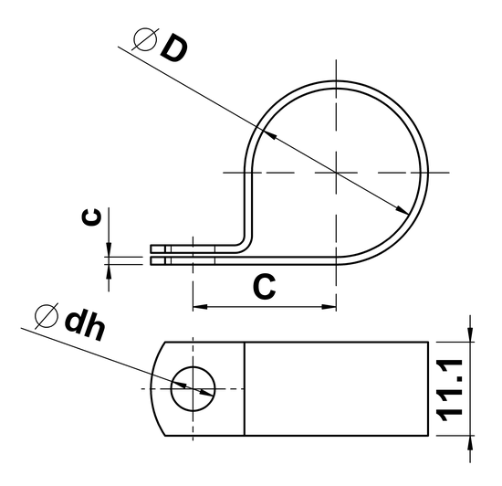 technical drawing of P-Clips in Solid Brass