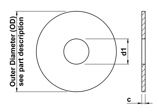 technical drawing of Penny Washers