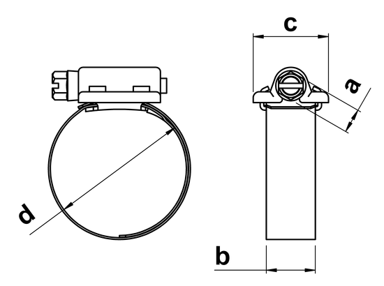 technical drawing of Perforated Band Series Hose Clips
