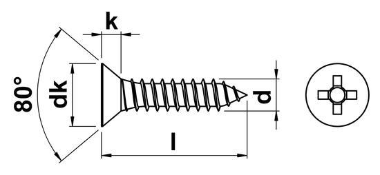 technical drawing of Phillips Csk Tapping Screw ISO 7050 (DIN 7982H)