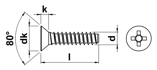 technical drawing of Phillips Csk Tapping Screws with Dog Point (Type F) ISO 7050 (DIN 7982H)