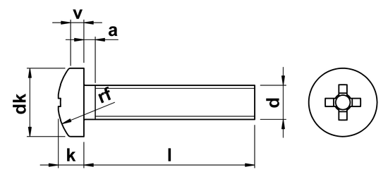 technical drawing of Phillips Pan Head Machine Screws ISO 7045 (DIN 7985H)