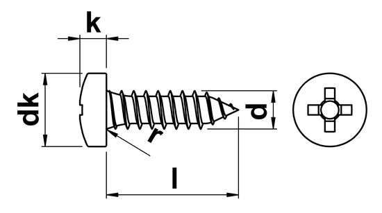 technical drawing of Phillips Pan Head Tapping Screw ISO 7049 (DIN 7981H)