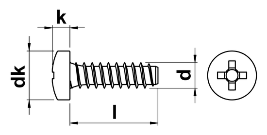 technical drawing of Phillips Pan Head Tapping Screws with Dog Point (Type F) ISO 7049 (DIN 7981H)