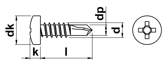 technical drawing of Phillips Pan Self Drilling Screws